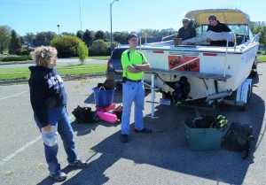 "Loading the ""Get Wet"" for todays dive on the clay banks"