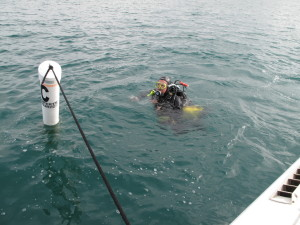 Jim recovering the SJRYC buoy anchors.