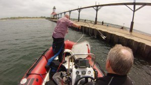 Tossing the anchor at the North Pier, St. Joseph, MI.